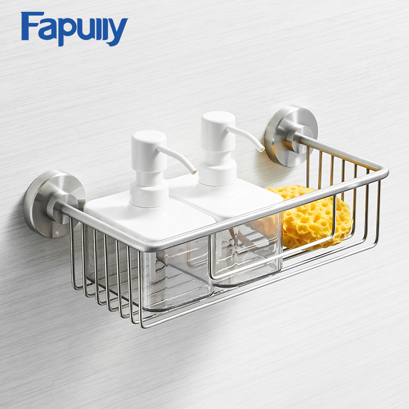 Fapully Bathroom Shelves 304 Stainless Steel Nickel Single Tier Wall Mounted Holder Shelf Shower Soap Bath Accessories G211 05N in Bathroom Shelves from Home Improvement
