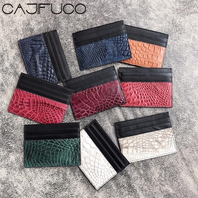 e38d0c02bad CAJIFUCO Real Crocodile Skin Porte Carte Ultrathin Genuine Leather Credit  Card Holder Classic Coin Purse