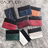 CAJIFUCO Real Crocodile Skin Porte Carte Ultrathin Genuine Leather Credit Card Holder Classic Coin Purse