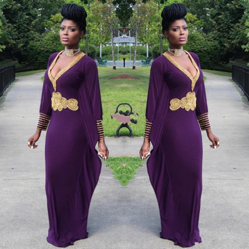 Gold Beaded Long Sleeves Arabic Dress Y V Neck Purple Dubai Prom Dresses Party Evening Gowns 2017 Vestidos De Festa In From Weddings