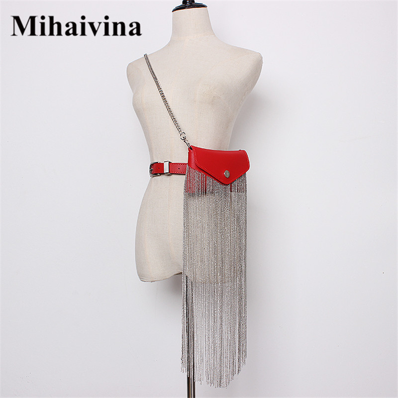 Mihaivin Women Waist Bag Metal Tassel Belt Bags Luxury Fanny Pack Design Brand Belt Chain Hip Hop Waist Pack Phone Shoulder Bag
