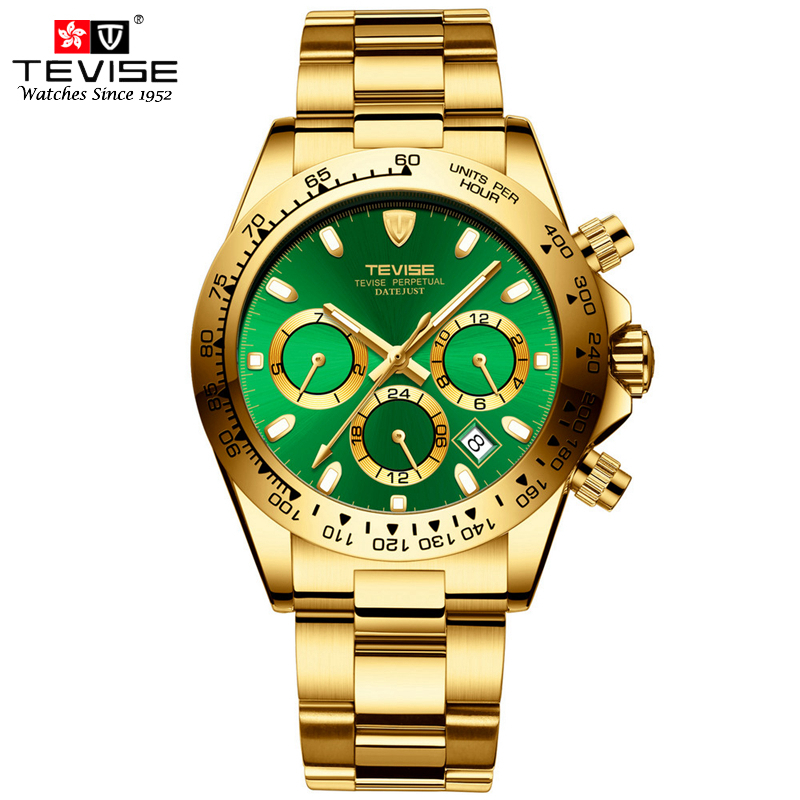 TEVISE Men Gold Watch Mechanical Mens Watches Top Brand Luxury Stainless Steel Date Calendar Automatic Self-Wind Wristwatches
