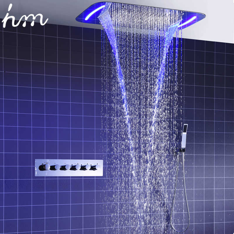 hm Rain Shower System Ceiling Mount Multifunction Mist Spray Waterfall Spa Massage With Electric High Flow Thermostatic Diverter