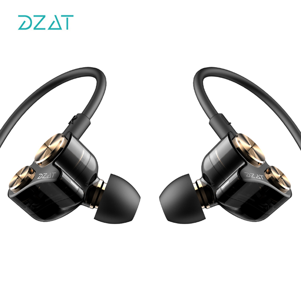 DZAT In Ear Earphones Earbuds Dual Dynamic Drivers Noise-isolating Sport Headset with Heavy Bass Hifi for All Phones original senfer dt2 ie800 dynamic with 2ba hybrid drive in ear earphone ceramic hifi earphone earbuds with mmcx interface