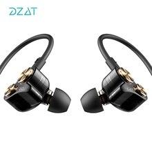 DZAT Dinâmica Dual Drivers Noise-isolar Em Fones De Ouvido Fones de Ouvido Esporte Fone de Ouvido com Baixo Pesado de Alta Fidelidade para Todos Os Telefones