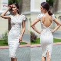 Robes Mariage Court Sexy Backless Cocktail Dresses Lace Mermaid Cocktail Gowns Cap Sleeve Knee Length Bridal Gowns