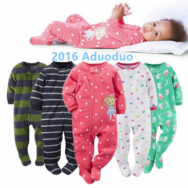 2016 novo bebê roupas de menina, lã macia crianças one pieces Macacões Pijama bebê recém-nascido menina meninos roupas trajes bebê bebes