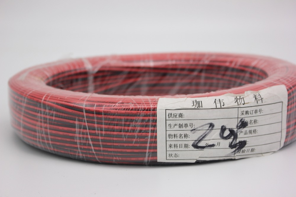 100m/lot, <font><b>2pin</b></font> Red Black cable, Tinned copper <font><b>20AWG</b></font> 22AWG, PVC insulated wire, Electronic cable, LED cable,free shipping image