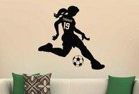Kızlar Spor Futbol Vinil Duvar Çıkartması Sticker Özel Ad & Jersey Numarası