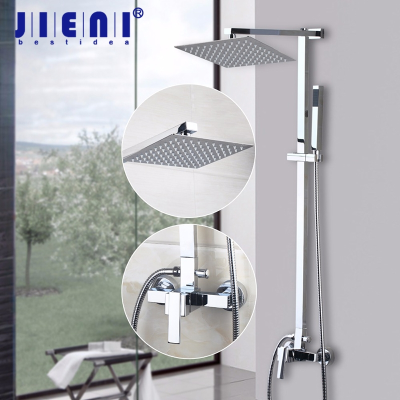 New Brass Chrome Bathroom Shower Set Wall Mounted 8 inch Square Stainless Steel Ultra thin Water