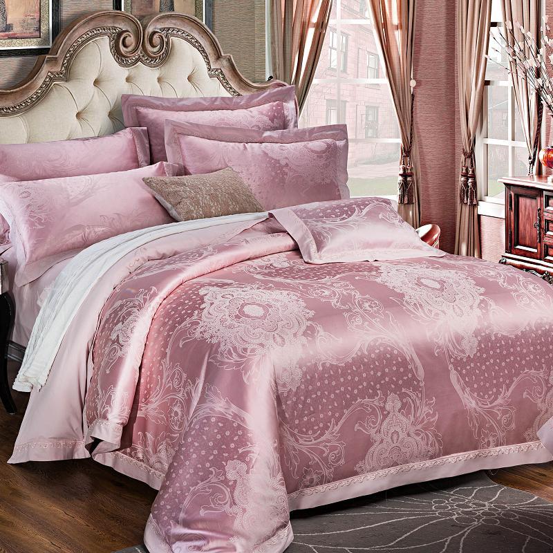 2017 Pink Stain Jacquard Luxury Bedding Set 4pcs King Queen Size Bedlinen Bed Sheet Fit Sheet