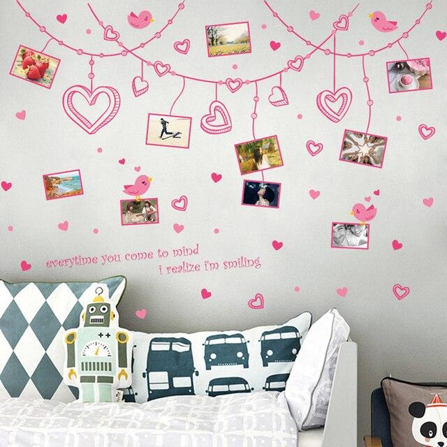Romantis bingkai foto diy wall sticker removable lucu pink art decal dekorasi kamar reusable wallpaper foto