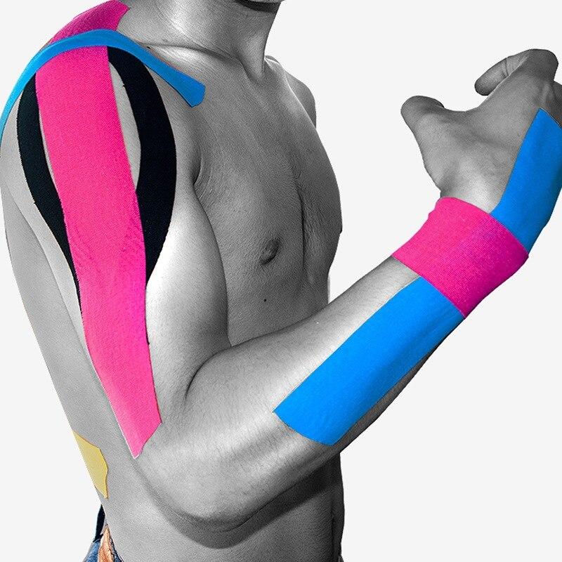 5 м * 5 см Kinesio лентой Спортивное кинезиологии Клейкие ленты спорт лентой обвязки хорошее качество Футбол колена мышцы Kinesio лентой strappin