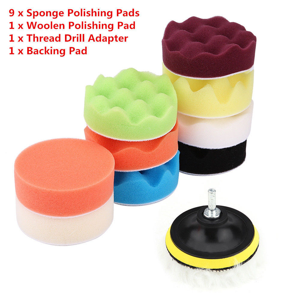 12pcs 3Inch Portable Durable Polishing Foam Buffing Sponge Car Buffing Sponge Pad Kit Vehicle Cleaning Tools