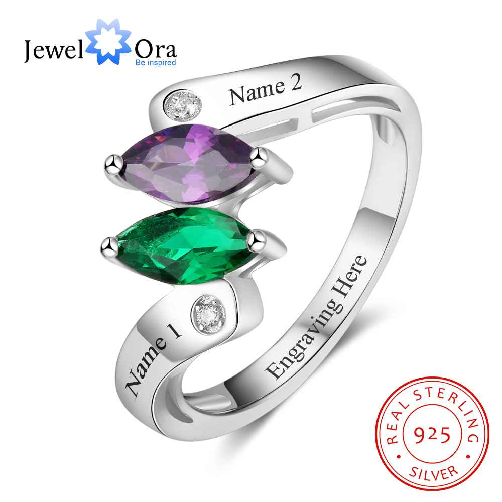 personalized heart birthstone custom engrave 2 names promise ring love 925 sterling silver anniversary gift jewelora ri103269 Personalized Birthstone Custom Engrave 2 Names Promise Rings For Women 925 Sterling Silver Anniversary Gift (JewelOra RI103270)