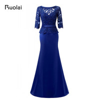 Real Photo Long Mother of the Bride Dresses 2018 Half Sleeve Applique Beaded Satin Mermaid Wedding Party Gown Women Dress MD04