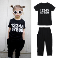 Children's Clothing Sets Toddler Kids Boys Girls Number Print Short Sleeve Cotton T-shirt Tops Pants Outfit 1 to 6 Years
