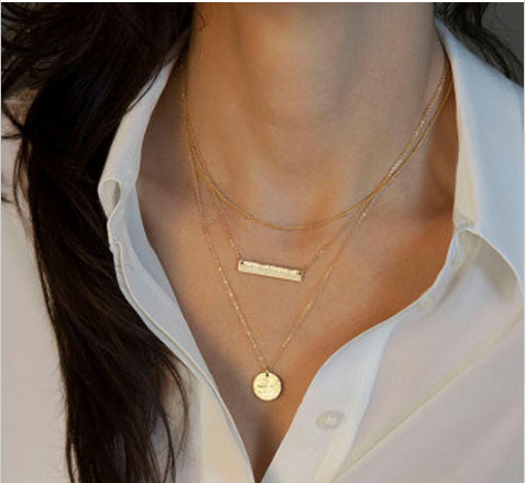 Hot sale 2pcsset women celebrity fashion 3 layer geometry charms hot sale 2pcsset women celebrity fashion 3 layer geometry charms charm pendants chain necklace jewelry in pendant necklaces from jewelry accessories on aloadofball Images