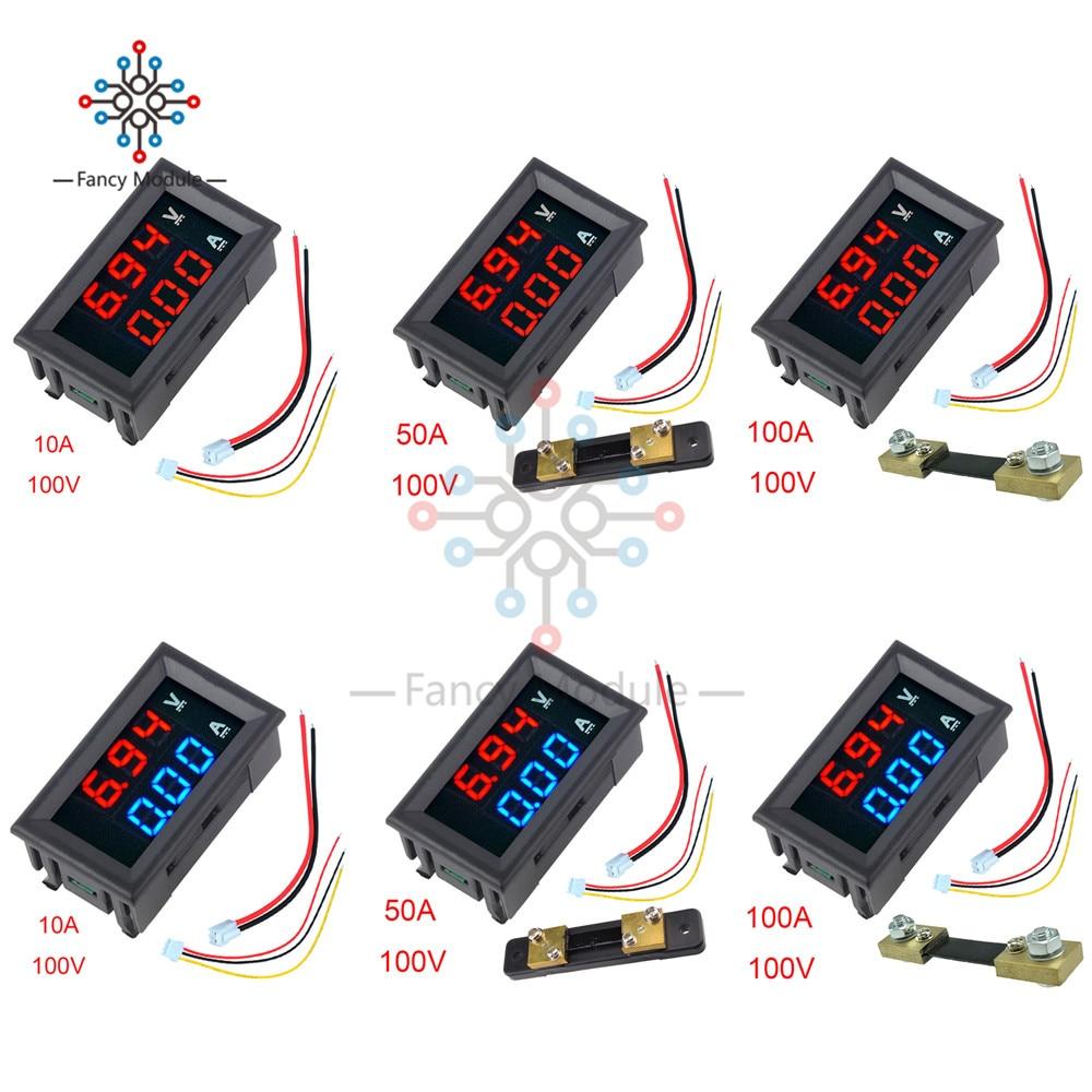 """Mini Digital Voltmeter Ammeter 0.56"""" R/R R/B LED Display DC 100V 10A/50A/100A Panel Amp Voltage Current Meter Tester with Shunt"""