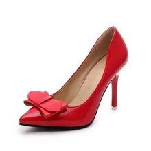 NEWEST Women's high heels Gladiator Sandals Fashion white red Patent Leather Platform Pumps Bowtie slip on Wedding Banquet shoes