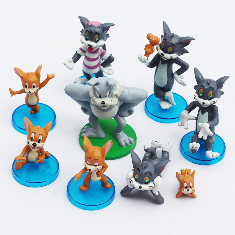 9pcsset Cartoon Tom and Jerry PVC Action Figure Model Toys Dolls Classic Toys Christmas Gifts 3~8cm Retail