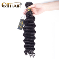 QThair Brazilian Loose Wave Hair Weave Bundles 1PC Natural Black Color Non Remy Hair Bundles 100