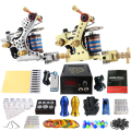 Solong Tattoo Pro Tattoo Kit 2 Rorary Tattoo Machine Gun Power Supply 1 Practice Skin Dual-sided Re-usable One Set TK202-11