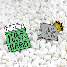 pillow queen and Nap So Hard enamel pin Cartoon bed and pillow shape cute brooch glitter crown and word creative badge(China)