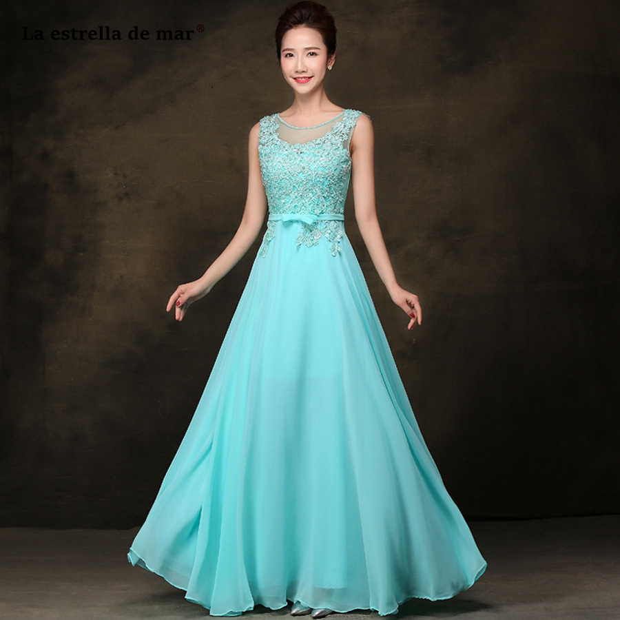 vestidos de madrinha 2019 new Scoop neck lace chiffon ALine turquoise bridesmaid dress long plus size cheap wedding party dress