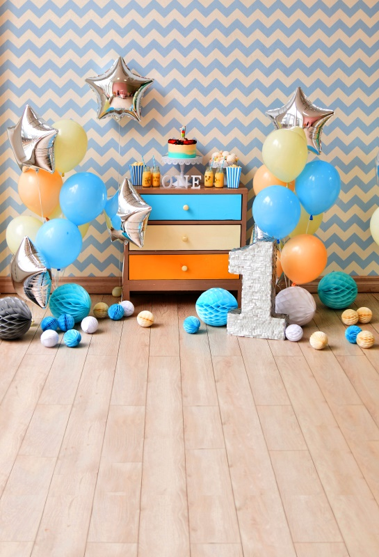 Laeacco Leuke Sterren Ballonnen 1 jaar Brithday Baby Fotografie - Camera en foto