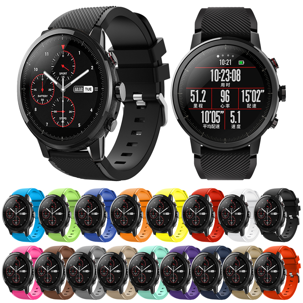 22mm Silicone Sport Strap For Huami Amazfit GTR 47mm/Pace/Stratos 2/2S Band For Samsung Galaxy Watch 46mm/Gear S3 Strap Bracelet