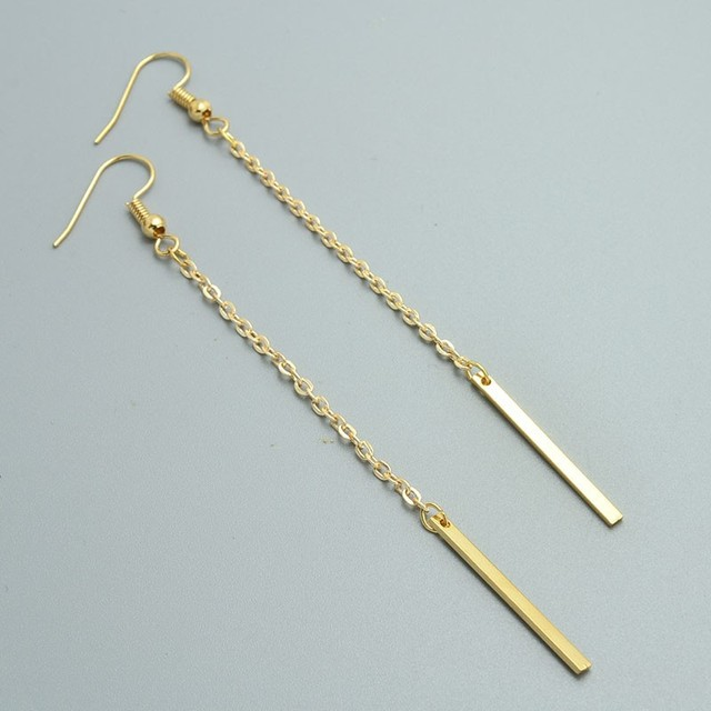 Minimalist Long Chain Hook Hanging Earrings Gold Color Bar Wire ...