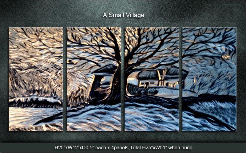 Modern Original Art Metal Wall Metal Art Original Abstract Large in 4 pieces Village castle series
