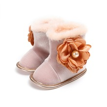 Flower and Pearl Newborn Baby Boots Toddler Boy Girl Soft Sole Shoes Warm Anti-slip Boots 0-18M