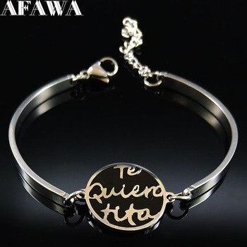ff2be3ed5dc3 2019 Te Quiero Tita pulseras de acero inoxidable de las mujeres de Color  plata pulseras de brazalete pulsera de la joyería de acier inoxydable femme  B18335