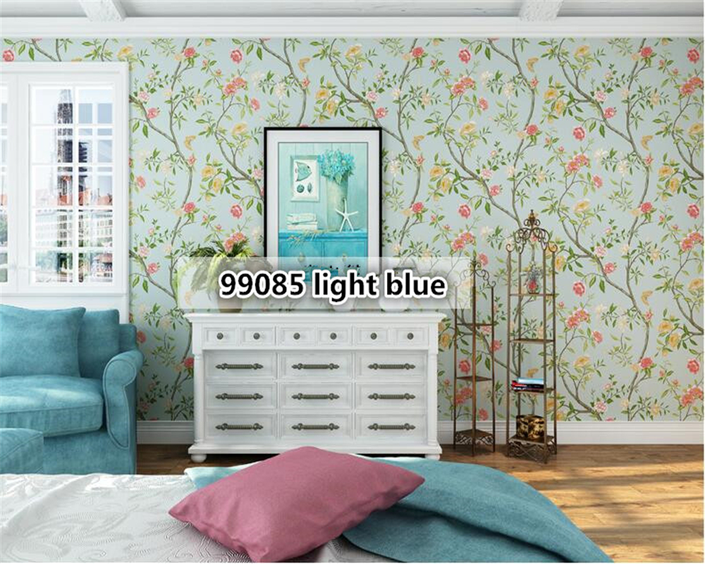 beibehang Retro American Village Pastoral 3d Wallpaper Flower Bird Green Pure Paper Bedroom Living Room TV Background Wallpaper beibehang american non woven wallpaper bedroom living room tv background retro green rural countryside large flower wallpaper
