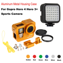 цена на hero 4 Hero 3+ Aluminum Alloy CNC Protective housing case Shell+Lens filter+ flash light for Gopro hero4 3+ camera accessories
