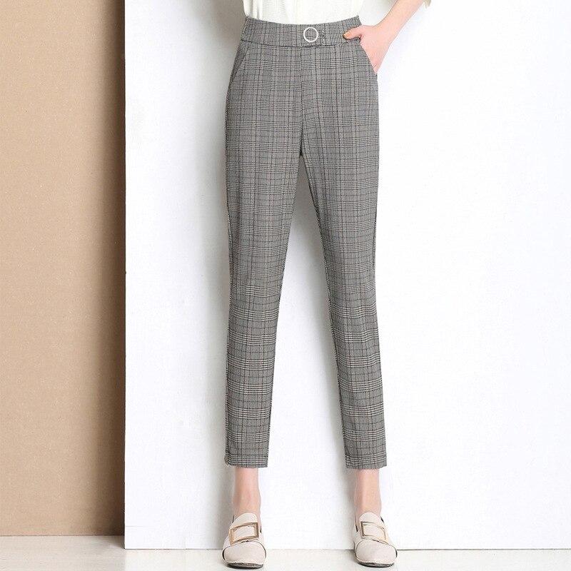 2019 New Summer Casual Loose Harem   Pants   Cotton Linen Plaid   Capris   Grid Women   Pants   Spring Autumn Stretch Waist Trousers