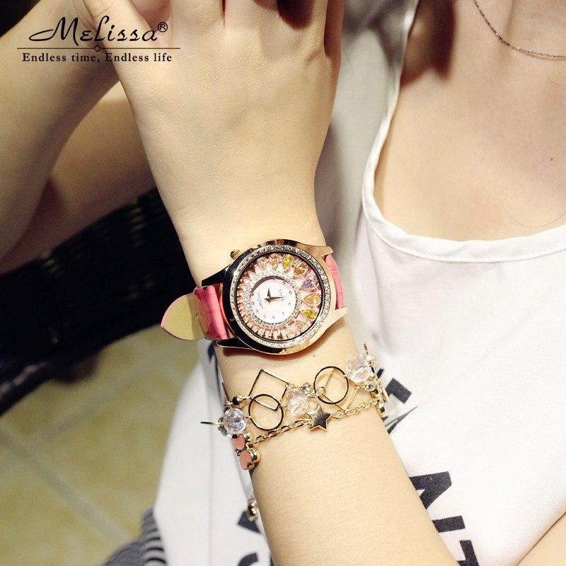 Mulheres de luxo cristal bling strass relógios mulher quartzo resistente à água relógio pulseira couro genuíno rosa senhora relógio - 5