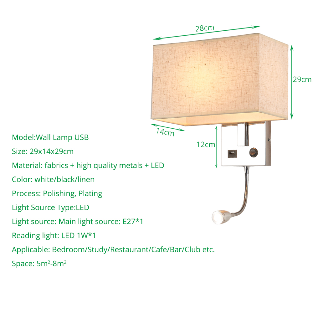 Tremendous Led Wall Light Usb Switch Sconce Bedroom Indoor Lighting Interior Design Ideas Tzicisoteloinfo