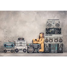 Vinyl Backgrounds For Photography Old Karaoke Music Player Stacked Baby Toys Cement Wall Portrait Photo Backdrops Studio