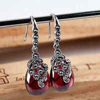 925 Bạc Water Drop Bông Tai Tự Nhiên Đá Màu Xanh Lá Cây 100% S925 Sterling Silver Opal Đỏ boucle Drop Earrings Phụ Nữ Jewelry
