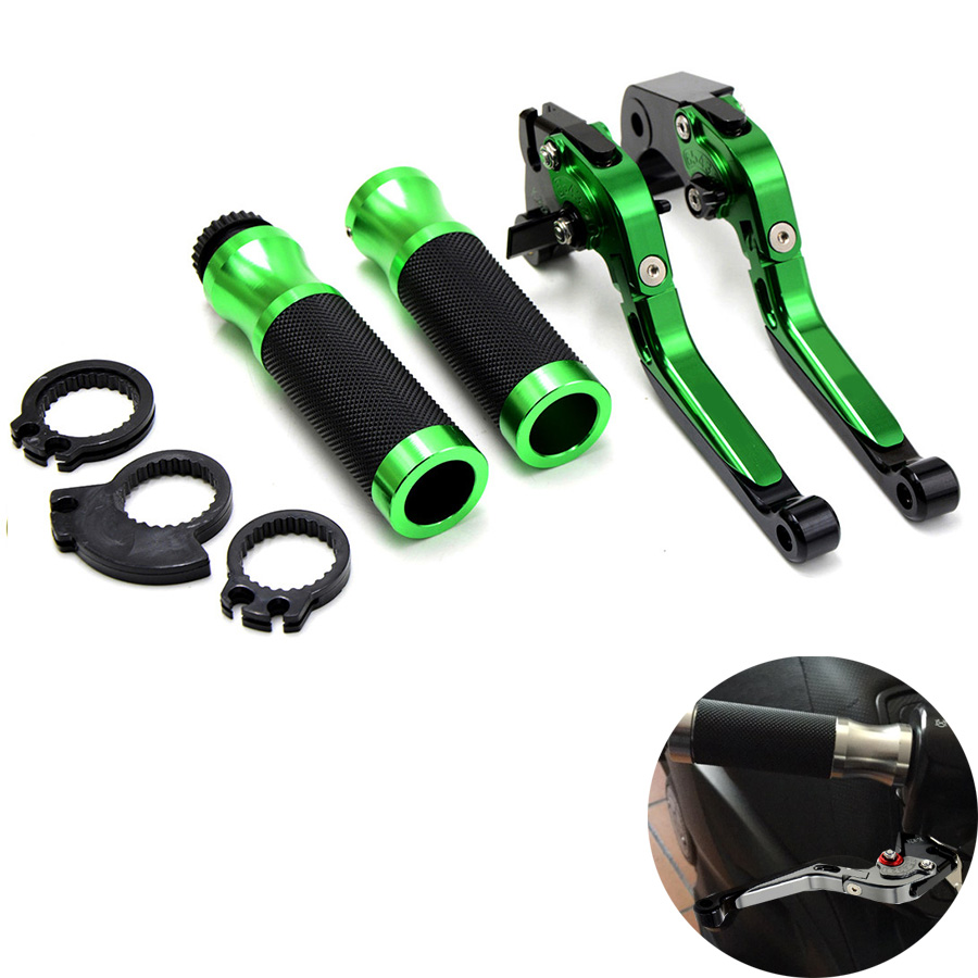 Motorcycle Brake Clutch Levers&7/8Handlebar Hand Grips Green For Kawasaki Z800 2013 2014 Z750 07 08 2009 2010 2011 2012 billet adjustable long folding brake clutch levers for kawasaki z750 z 750 2007 2008 2009 2010 2011 07 11 z800 z 800 2013 2014