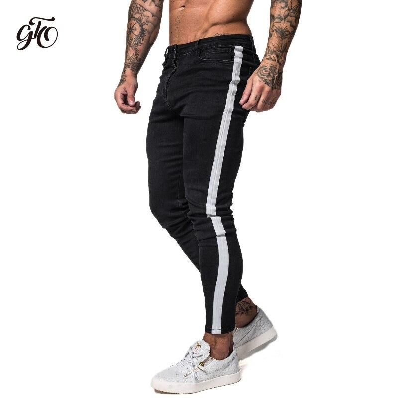 Gingtto Black Skinny Jeans For Men Denim Stretch Slim Fit Jeans Brand Biker Style Classic Hip Hop Ankle Tight Taping Male zm38 denim