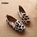 Fashion 2017 Spring And Autumn Classic Style Hippocampal hair Leopard Baby Girl Single Shoes For Children Mid Casual Footwear