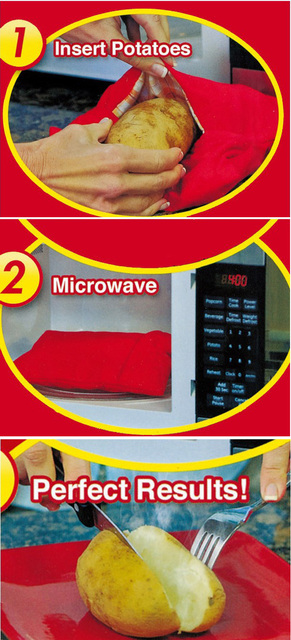 Red Washable Baked Potato Corns Bread Microwave Cooker Bag Quick Fast Kitchen Gadget Rice Pocket  Baking Tool