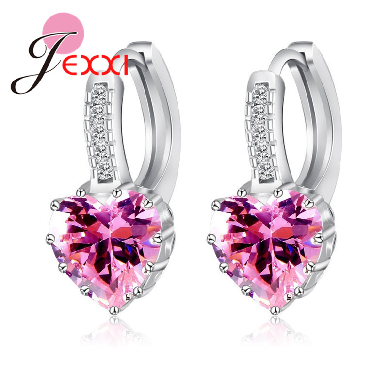 Real Pure 925 Sterling Silver Luxury Colorful Heart Band Jewelry Cubic Zirconia Stone Earrings Fashion For Women Girls 2