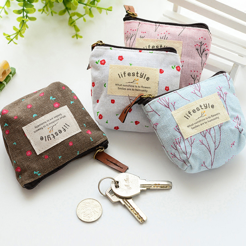 New Women Kids Canvas Coin Purse Floral Zipper Pouch Small Wallet for Coins Lady Key Card Holder Case Bag Porta Monete Donna