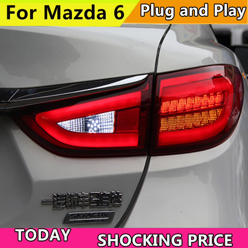 Car Styling TailLight Case For Mazda 6 Atenza Sedan 2014 2015 Taillights LED Tail Lamp Rear Lamp DRL+Brake+Park+Signal light 1 pc outer rear tail light lamp taillamp taillight rh right side gr1a 51 170 for mazda 6 2005 2010 gg page 7