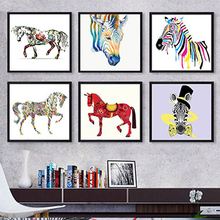 DIY oil Painting By Numbers Animals horse Colorful abstract pictures Drawing Coloring paint for hoom decor with frame